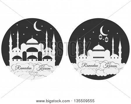 Emblems For Islamic Holiday Ramadan. Ramadan Kareem, Blue Mosque, Minaret, Lantern And Moon, Muslim