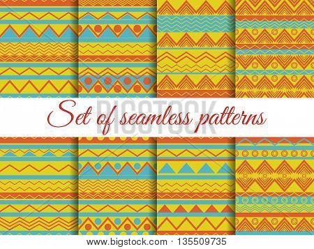 Set The Texture Seamless In Ethnic Style, Tribal Seamless Texture, Seamless Pattern In Hippie Style.