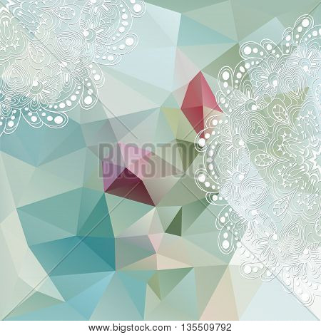 Vector white ornament on the background with geometric shapes. Triangle mosaic background. Polygonal design.