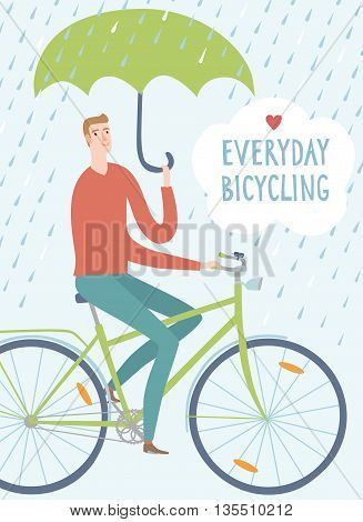 Man with green umbrella riding on a bicycle under the rain. Everyday bicycling title. Hand drawn cartoon illustration.