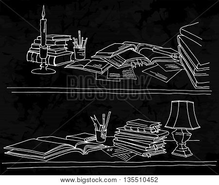 Back to School. Freehand drawing school elements on a blackboard. Opened schoolbooks and notebooks. Learning lessons. Vector illustration.