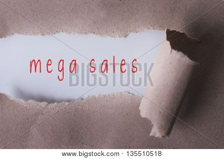 torn paper with mega sales word. Copyspace area.