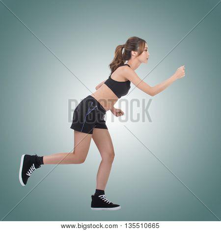 Jogging girl of Asian, full length portrait on white background.