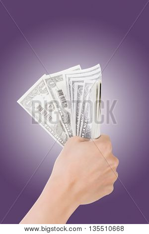woman hand holding one dollar bill