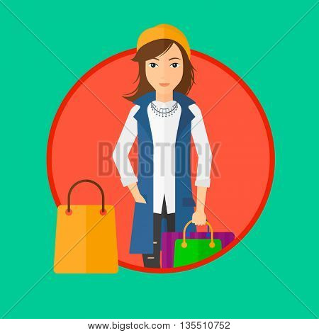 Woman holding shopping bags. Happy young woman carrying shopping bags. Woman with a lot of shopping bags. Vector flat design illustration in the circle isolated on background.