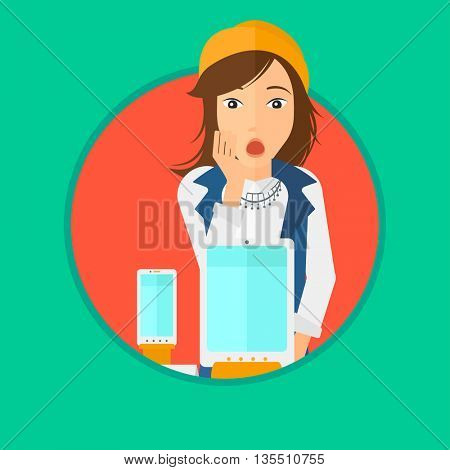 Astonished woman looking at digital tablet and smartphone through shop window. Woman with open mouth looking at tablet and phone. Vector flat design illustration in the circle isolated on background.