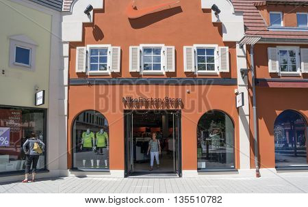 ROPPENHEIM, ALSACE, FRANCE - June 22, 2016: Interior of  NIKE FACTORY STORE in the  Outlet Village Roppenheim