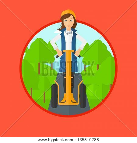 Woman driving electric scooter. Woman on self-balancing electric scooter with two wheels. Woman on electric scooter in the park. Vector flat design illustration in the circle isolated on background.