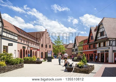 ROPPENHEIM, ALSACE, FRANCE - June 22, 2016: View of the Outlet Village on the border of Germany and France