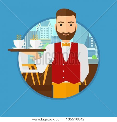 A hipster waiter with the beard holding a tray with cups of tea or coffee. Waiter with cups of coffee or tea at the bar. Vector flat design illustration in the circle isolated on background.