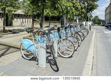 LUXEMBOURG, LUXEMBOURG â?? JUNE19, 2016:  Public Bike Rental Terminal run by the bike sharing company Veloh in Luxembourg