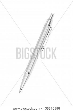 Silver Pen On White Background, Clipping Path.