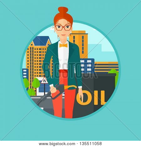 A woman standing near oil barrel. Woman holding gas pump nozzle on a city background. Woman with gas pump and oil barrel. Vector flat design illustration in the circle isolated on background.