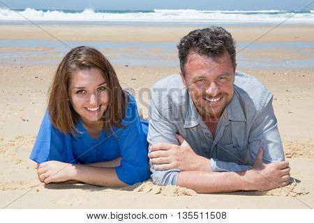 Cheerful and smiling Couple Enjoying Beach Holiday