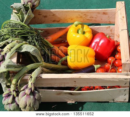 Vegetable Box With Peppers And Artichokes