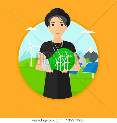 Woman holding a big light bulb with small wind turbines inside. Man standing on a background with solar pannels and wind turbines. Vector flat design illustration in the circle isolated on background.