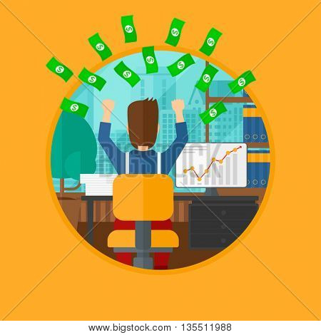 A successful businessman with raised hands sitting in front of computer monitor with growing chart under money rain. Business vector flat design illustration in the circle isolated on background.