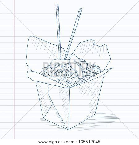 Chinese food and chopsticks in a takeaway container. Chinese food hand drawn on notebook paper in line background. Chinese food vector sketch illustration.
