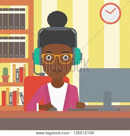 An african-american woman in headphones sitting in front of computer monitor with mouse in hand on the background ofliving room vector flat design illustration. Square layout.