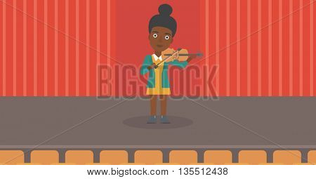 An african-american woman playing violin on the stage vector flat design illustration. Horizontal layout.
