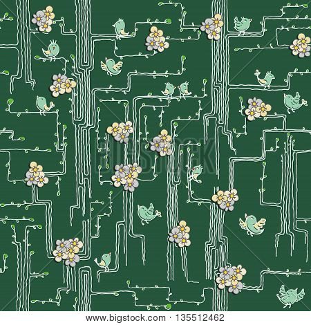 Spring trees with birds and flowers. Can be used as a background image for websites textiles cards. Seamless pattern.