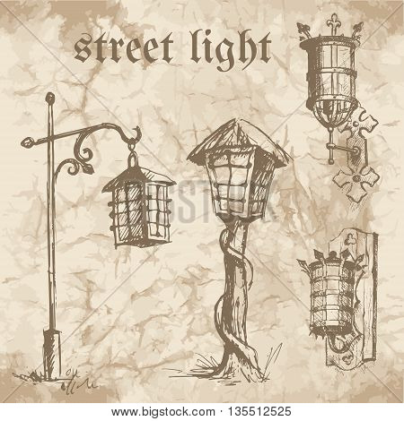 Set of ethnic street lamps and street lights