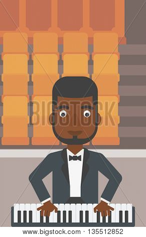 An african-american man playing piano on the background of empty theater seats vector flat design illustration. Vertical layout.