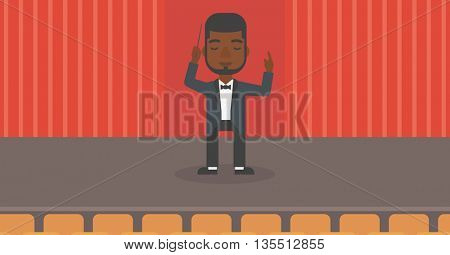 An african-american man directing with his baton on the stage vector flat design illustration. Horizontal layout.