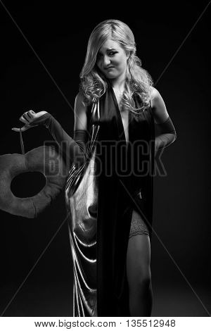 B and W portrait of blond woman with glamour make-up