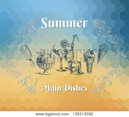 Coctails dessert ice cream and ornaments on the yellow and blue hexagons background. Main dishes of summer menu. Vector illustration.