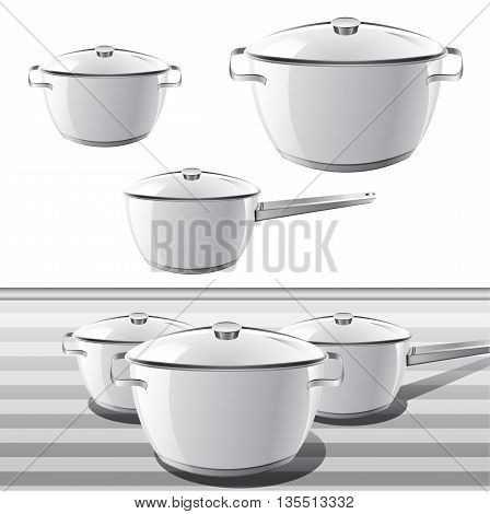 Set of Panes for cooking. Vector illustration
