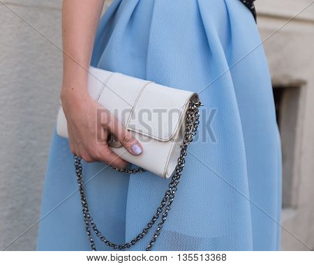 MILAN ITALY - JUNE 20: Detail of bag outside Etro fashion show building during Milan Men's Fashion Week on JUNE 20 2016 in Milan.