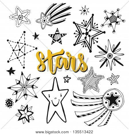 Star doodles isolated set. Sketchy hand drawn vector illustration.