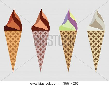 Ice Cream Cone Isolated, Ice Cream Sundae, Kinds Of Ice Cream, Chocolate Ice Cream Cone.