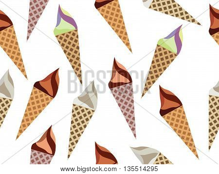 Ice Cream Cone Seamless Pattern, Ice Cream Pattern, Kinds Of Ice Cream, Chocolate Ice Cream Cone.