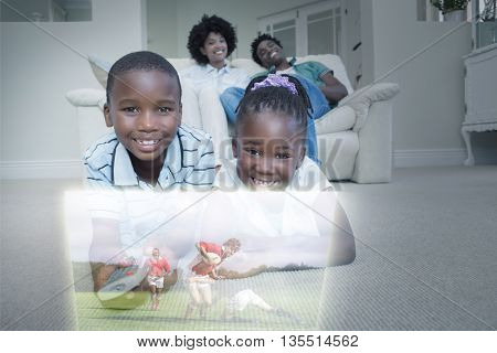 Composite image of happy sibling lying on carpet watching sport on television with their parents at home