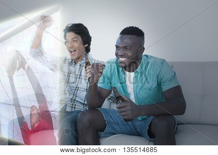 Composite image of friends are watching sport on television at home