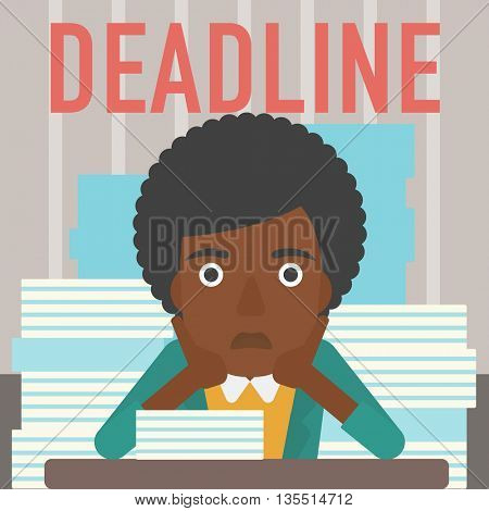A stressed african-american woman sitting at the table with stacks of papers and having problem with deadline vector flat design illustration. Square layout.