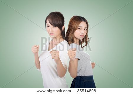 Asian woman fight together, closeup.