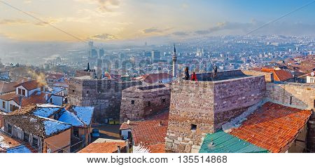 Panorama oh Hisar Castle Hill with the old stone towers connected by the huge wall Ankara Turkey.