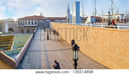 ANKARA TURKEY - JANUARY 16 2015: The scenic complex of Haci Bayram Mosque is the pearl of the city on January 16 in Ankara.