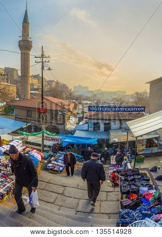 ANKARA TURKEY - JANUARY 16 2015: The steep stairs leads to the Suluhan Bazaar located in old town on January 16 in Ankara.