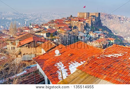 The Hisar Castle Hill is the historic neighborhood of Ankara that preserved the medieval defensive and residential architecture Turkey.