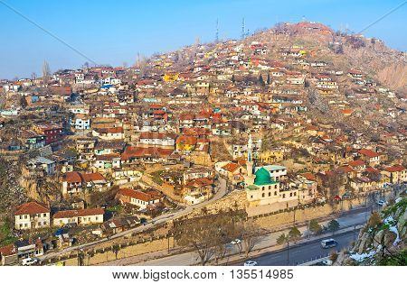 The old slums occupies the large hill in the city center of Ankara Turkey.