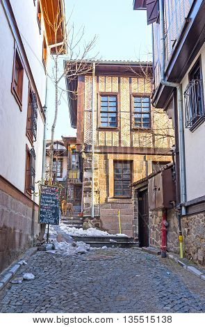 ANKARA TURKEY - JANUARY 16 2015: The half-timbered houses in the renovated neighborhood known as the Turkish village on January 16 in Ankara.