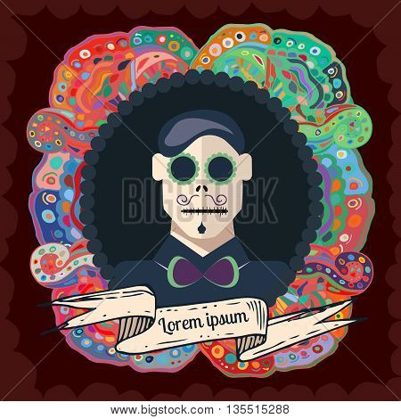 Invitation poster of the Day of the dead party. Color portrait of a man. Day of the dead vector illustration. Flat style. EPS 10
