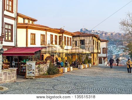 ANKARA TURKEY - JANUARY 16 2015: The quiet streets in the city center are the perfect place for the walk and visit local cafe on January 16 in Ankara.