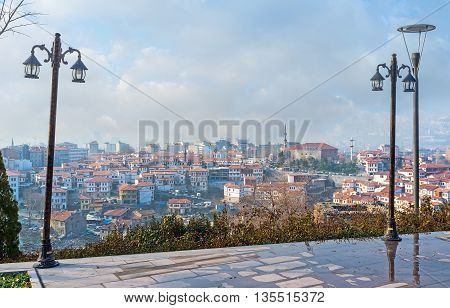 The Hisar Castle Hill is the best viewpoint overlooking the old Ankara with its main sites Turkey.