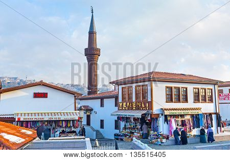 ANKARA TURKEY - JANUARY 16 2015: The rebuilt neighborhood of the old town is the best place for traditional bazaar and tourist stalls on January 16 in Ankara.