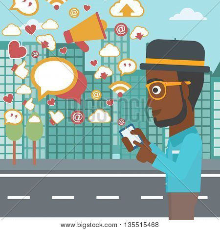 An african-american man using smartphone with lots of social media application icons flying out on a city background vector flat design illustration. Square layout.